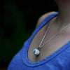 Round Light Blue Recycled Glass Pendant Necklace