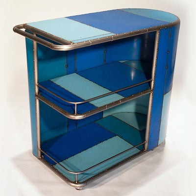 Micro Reclaimed Metal Blue Bar Cart