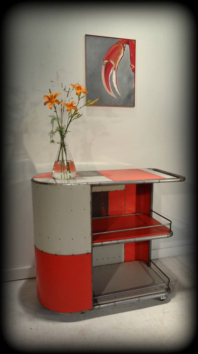 Micro Reclaimed Metal Red Bar Cart
