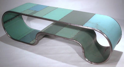 Mongoloid Reclaimed Metal Turquoise Bench or Table