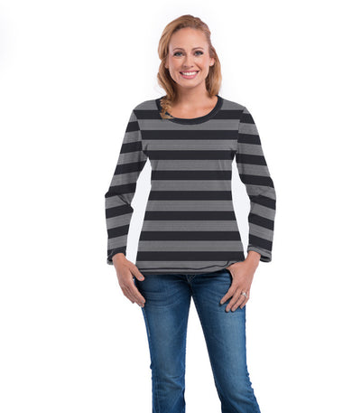 Myrtle Long Sleeve Women's Top - Charcoal Cloud Stripe