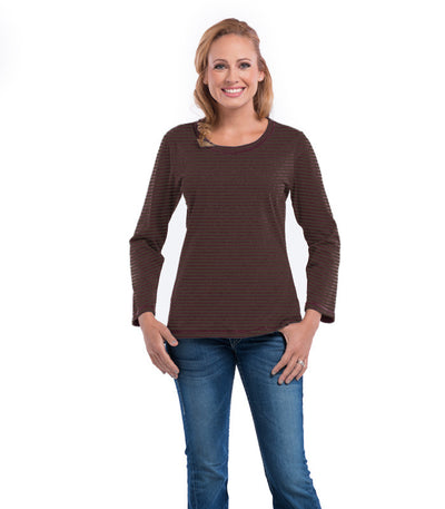 Myrtle Long Sleeve Women's Top - Earth/Merlot