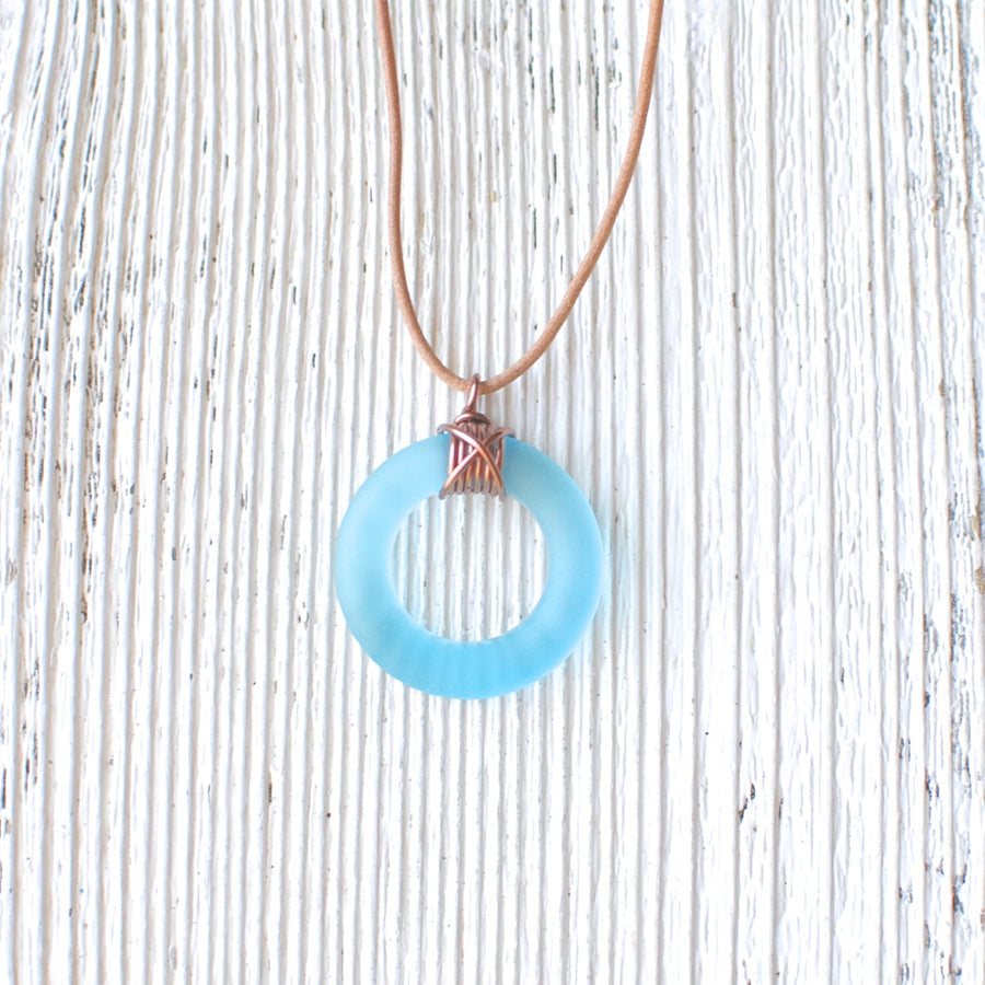 Blue Bombay Sapphire Copper Leather Necklace
