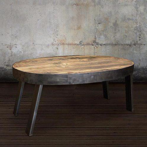 Oval Industrial Coffee Table With Steel Frame And Legs The