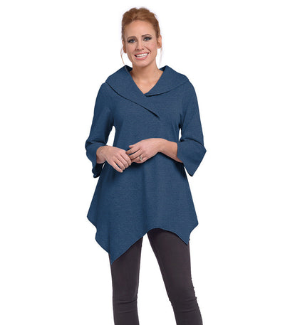 Paradiso Tunic Eco-Friendly Top - Charcoal/Sapphire
