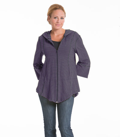 Passion Flower Swing Stripe Jacket - Charcoal/Lilac