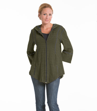 Passion Flower Swing Stripe Jacket - Charcoal/Olive
