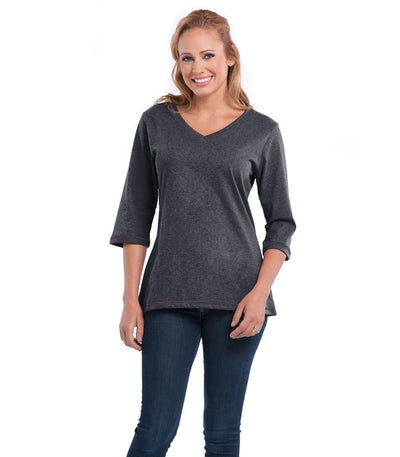 Peony Women's V-Neck Charcoal Top
