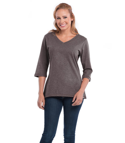 Peony Women's V-Neck Earth Top