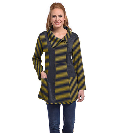 Petunia Tunic Eco-Friendly Top - Charcoal/Maize