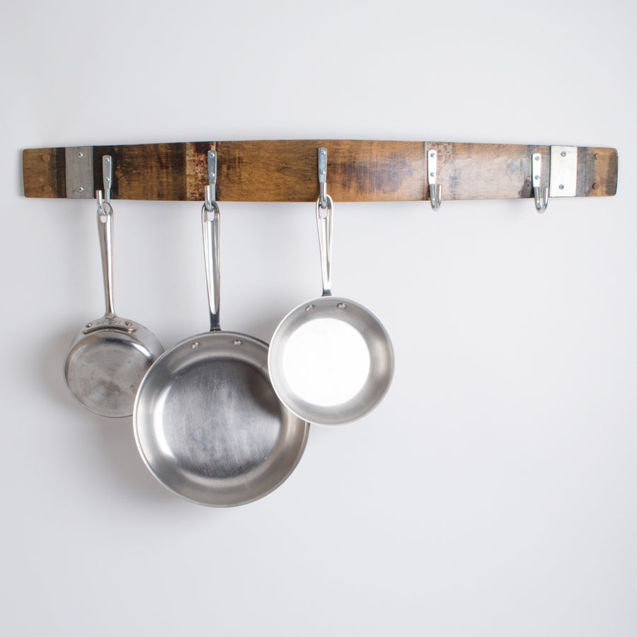 Barrel Stave Pot Rack with Stainless Steel Hooks