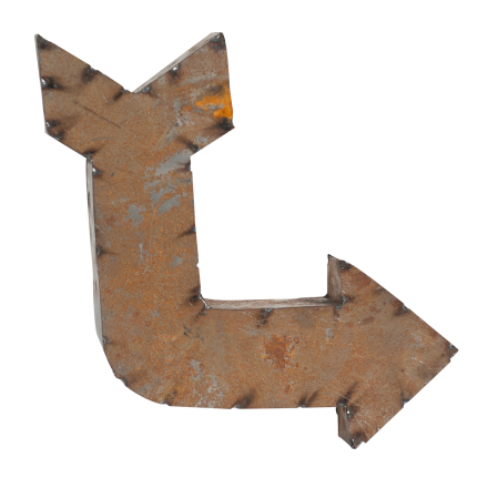 Reclaimed Metal Crooked Arrow Sign