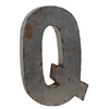 Reclaimed Tin Letter Q