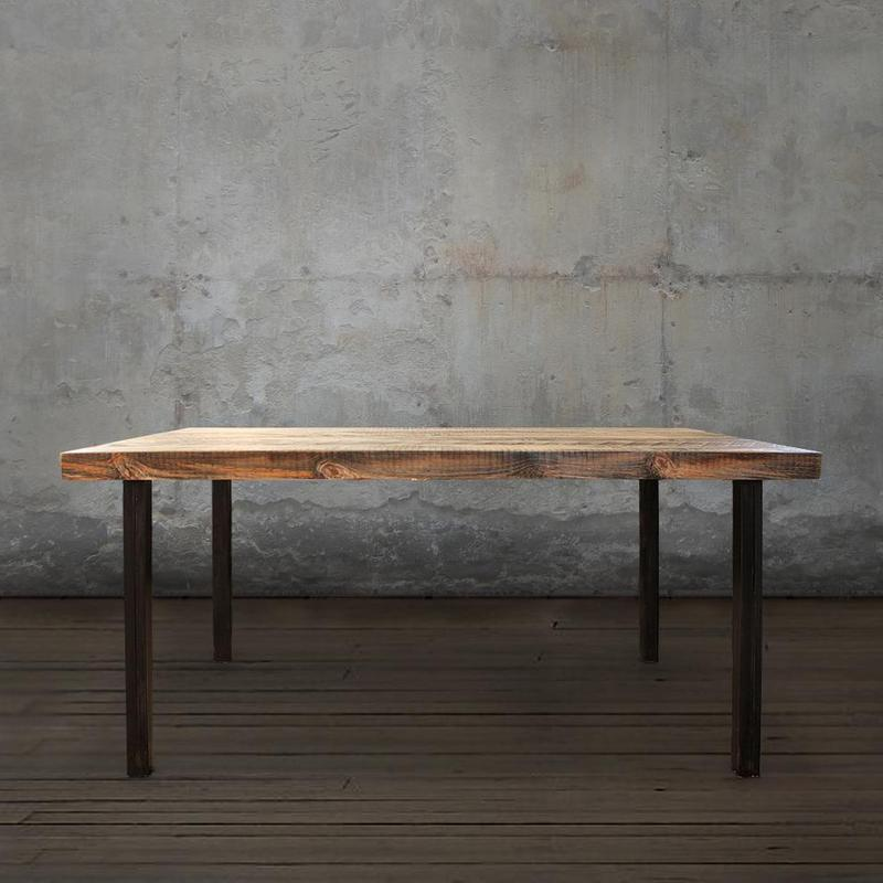 Reclaimed Wood Dining Table with Straight Steel Legs