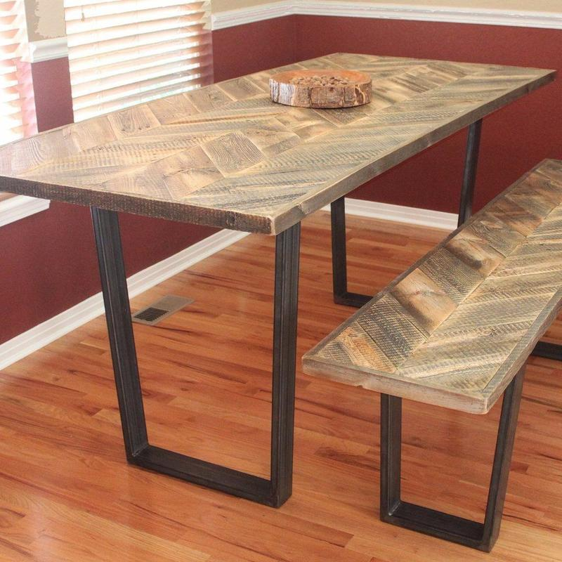 Reclaimed Wood Dining Table, Kitchen Table, Chevron Pattern Wood Top And  Steel Legs