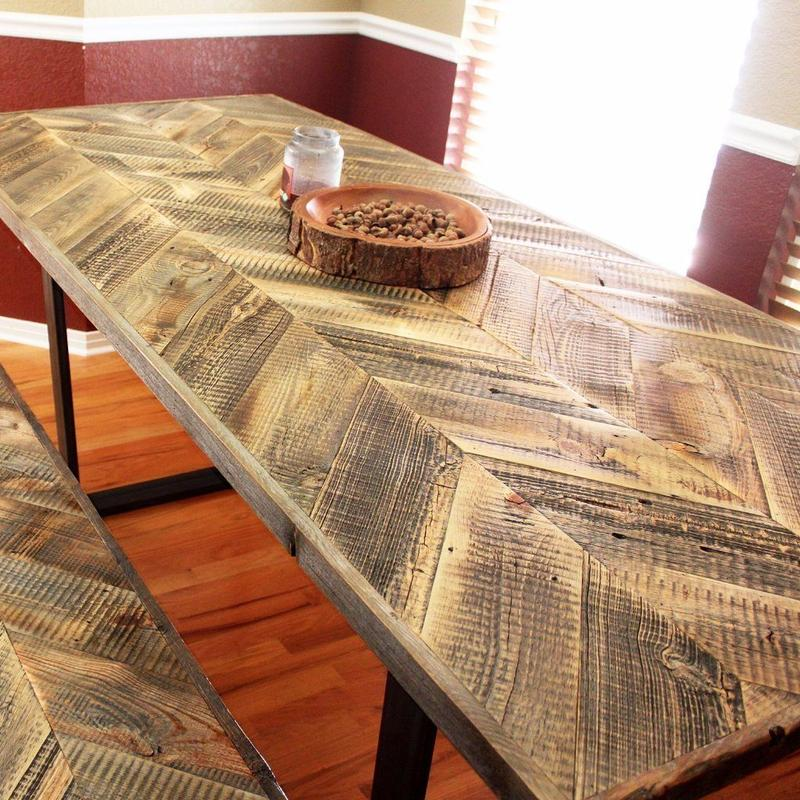 Chevron Pattern Wood Top Dining Table With Steel Legs - The ...