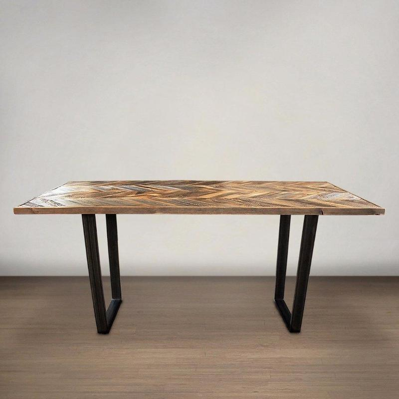 Chevron Pattern Wood Top Dining Table With Steel Legs