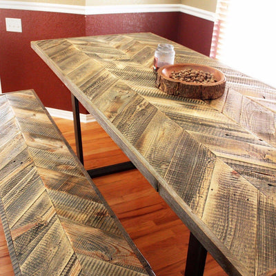 Reclaimed Wood Dining Table and Bench