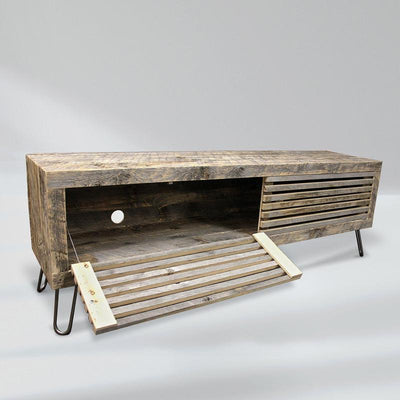 Reclaimed Wood Media Console, Slat Wood Doors