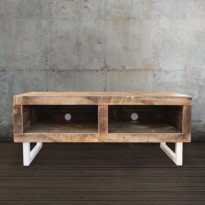 Reclaimed Wood Media Console, White Tube Steel Legs