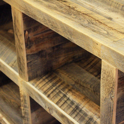 Reclaimed Wood Media Storage Console, Bookshelf