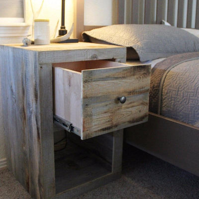 Reclaimed Wood Nightstand with Drawer