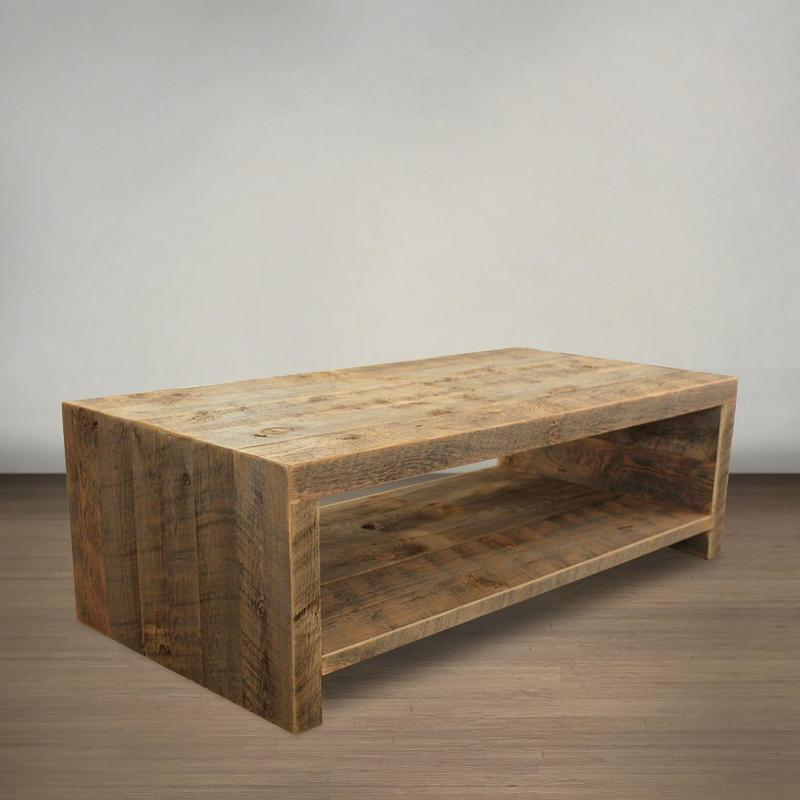 Bi-Level Open Design Wood Coffee Table