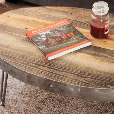 Reclaimed Wood Oval Coffee Table / With Drawer