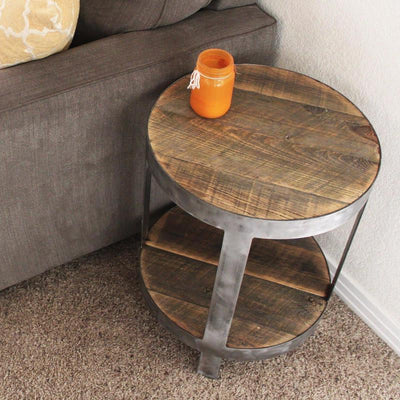 Two Level Round Industrial Side Table