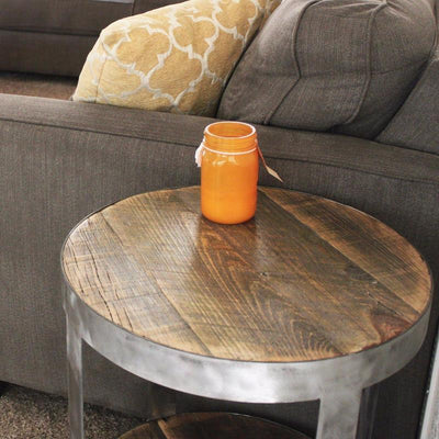 Bi-Level Round Industrial Side Table