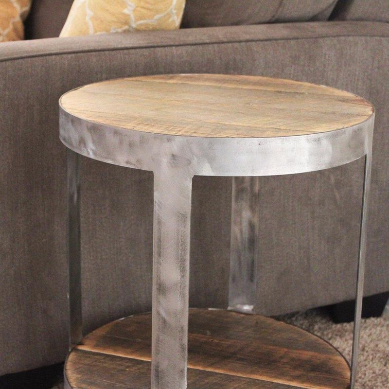Bi Level Round Industrial Side Table The Spotted Door