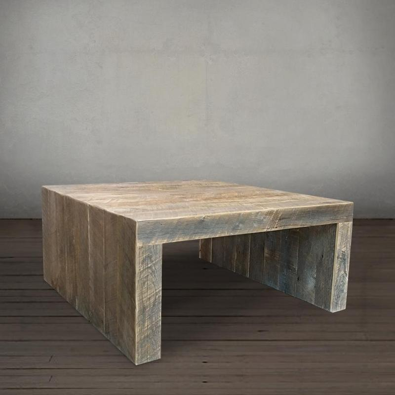 Solid Square Reclaimed Wood Coffee Table The Spotted Door