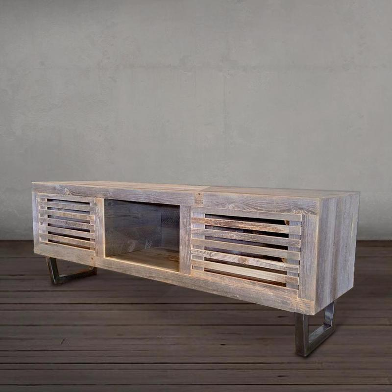 Tv Stand With Slotted Cabinet Doors The Spotted Door