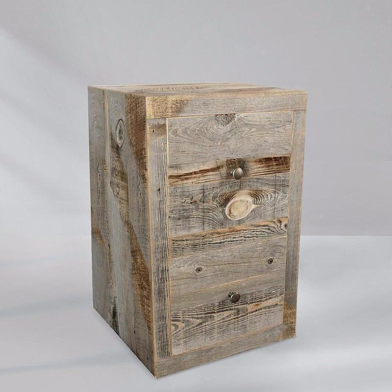 Solid Reclaimed Wood Two Drawer Nightstand