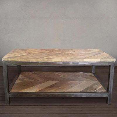 Two Tier Chevron Wood Coffee Table