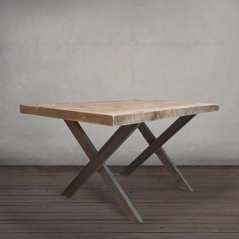 Wood and Metal Dining Table with Crossed Legs