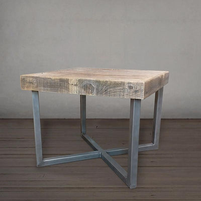 Reclaimed Wood and Metal End Table, Square