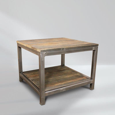Reclaimed Wood and Metal End Table, Two Tiered