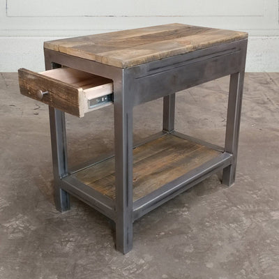 Reclaimed Wood and Metal End Table With Storage