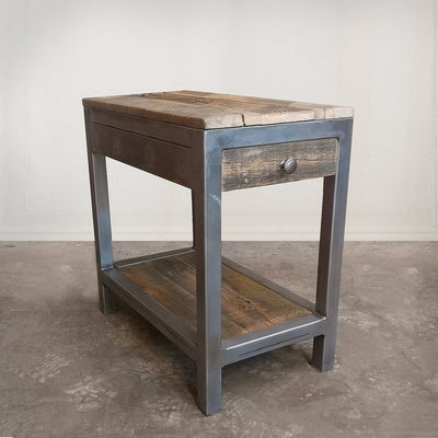 Reclaimed Wood and Metal End Table With Drawer