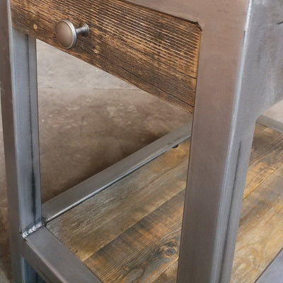 Handmade Reclaimed Wood and Metal End Table