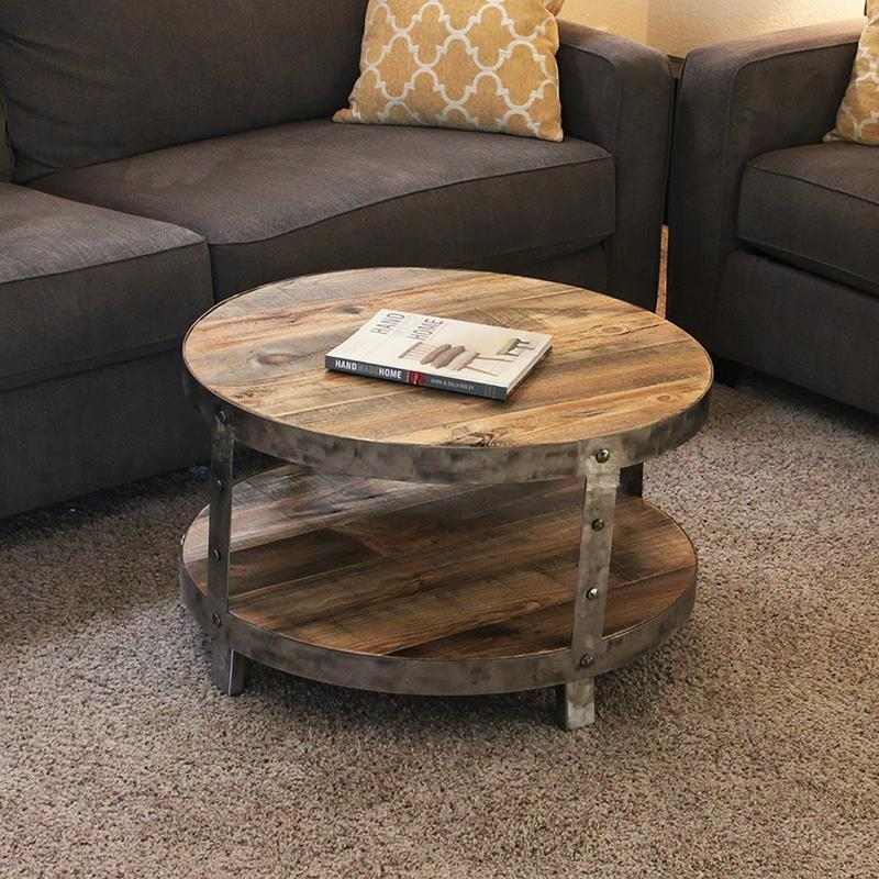 Reclaimed Wood Metal Coffee Table.Reclaimed Wood And Metal Two Tier Round Coffee Table