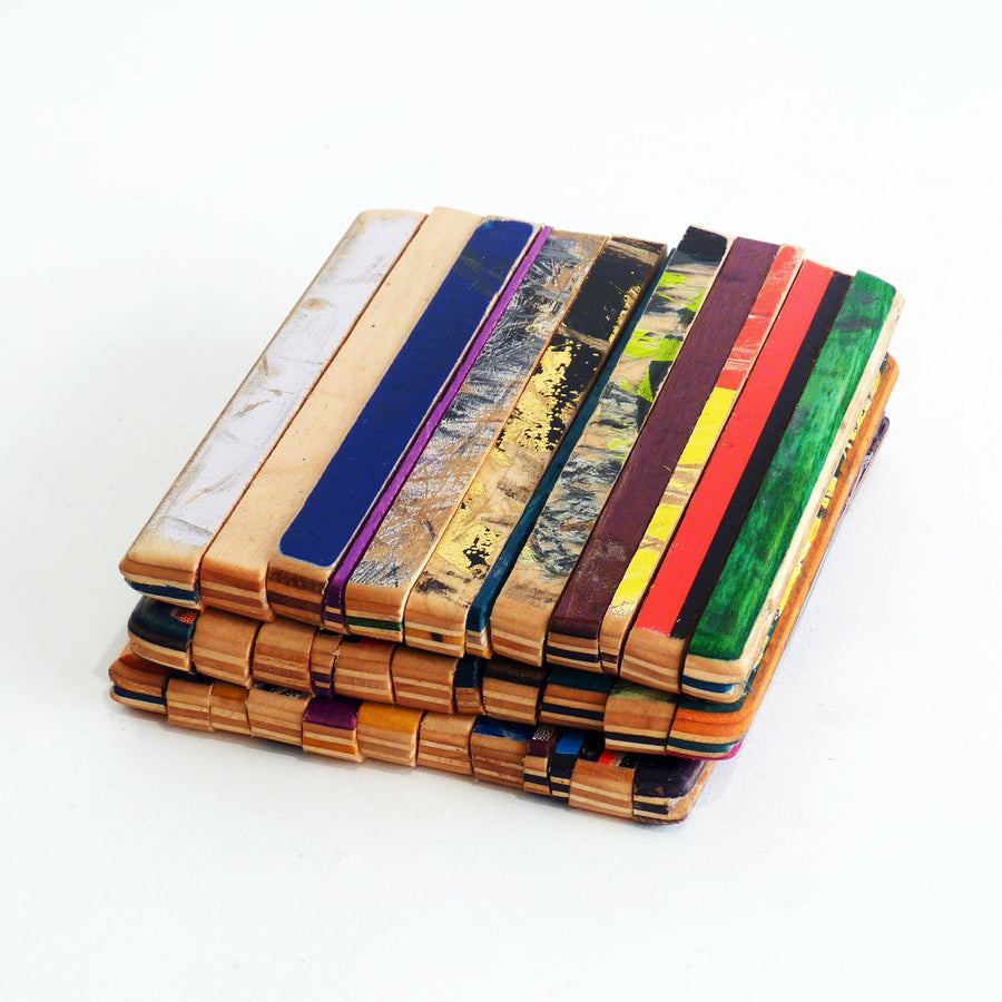 Recycled Skateboard Coasters