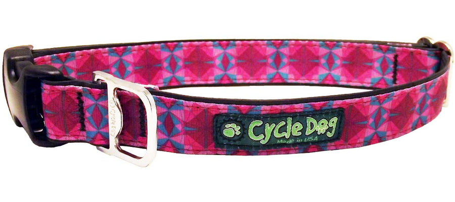 Fuchsia Teal Kaleidoscope Dog Collar