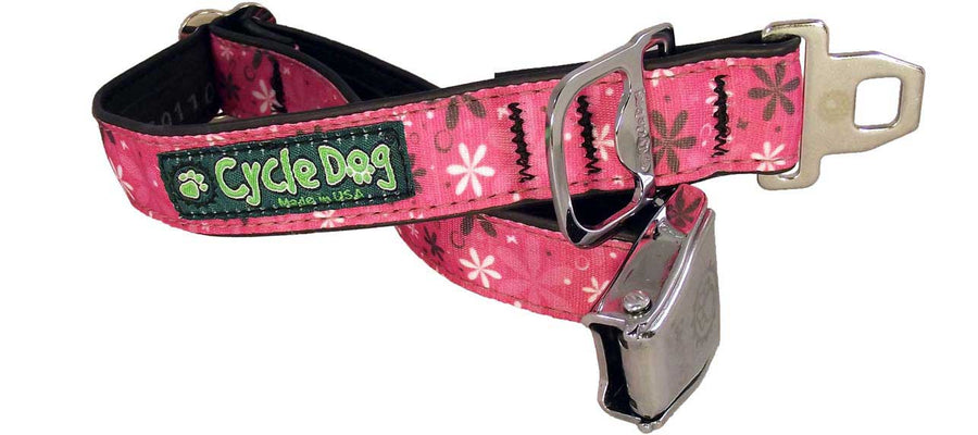 Hot Pink Retro Flowers Dog Collar
