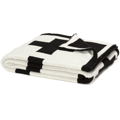 Eco Swiss Cross Reversible Throw Blanket (Black)