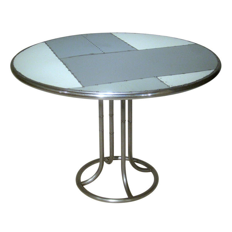 Round Reclaimed Scrap Metal Dining Table