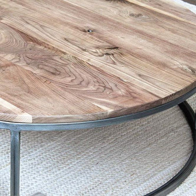 Round Walnut Wood and Metal Coffee Table