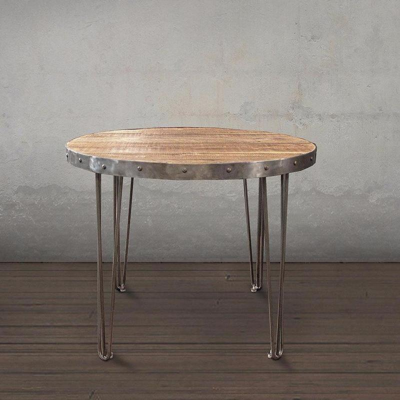 Round Wood Metal Cafe Bistro Table The Spotted Door - Round metal cafe table