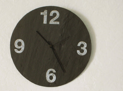 "12"" Wall Clock Salvaged Slate with Grey Numbers"